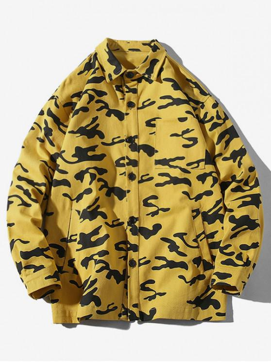 ladies Camouflage Print Chest Pocket Button Up Shirt - YELLOW L