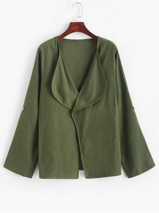 new ZAFUL Shawl Collar Open Rolled Up Sleeve Cardigan - ARMY GREEN L