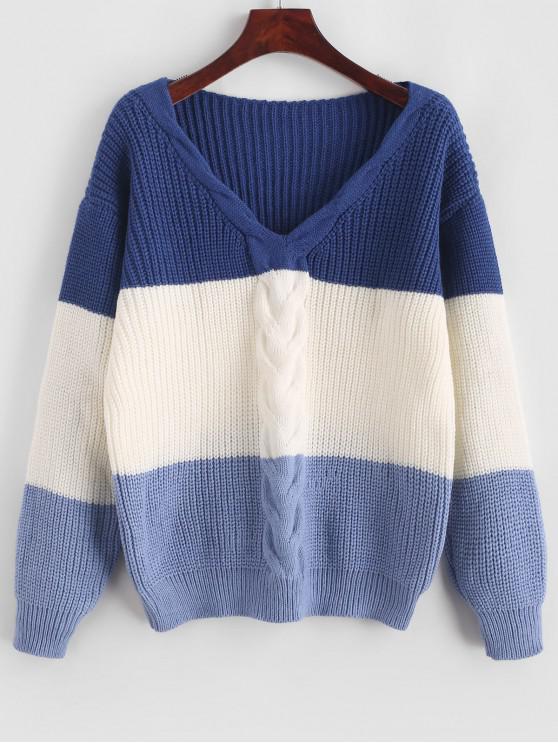 Jersey de bloque de color de punto de cable ZAFUL - Multicolor-A L