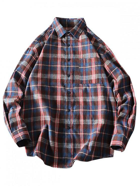 trendy Chest Pocket Plaid Long Sleeve Curved Hem Shirt - DEEP COFFEE M