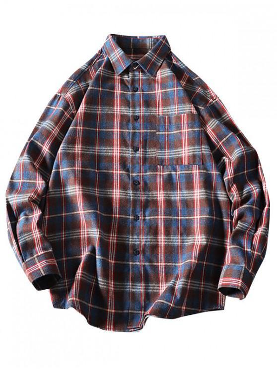 fashion Chest Pocket Plaid Long Sleeve Curved Hem Shirt - DEEP COFFEE L