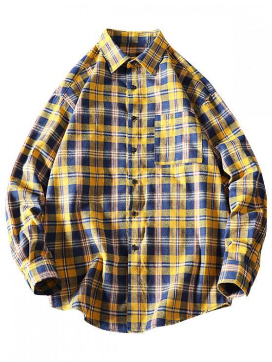 Camisa de dobladillo curvo de manga larga a cuadros en el pecho - Amarillo XL