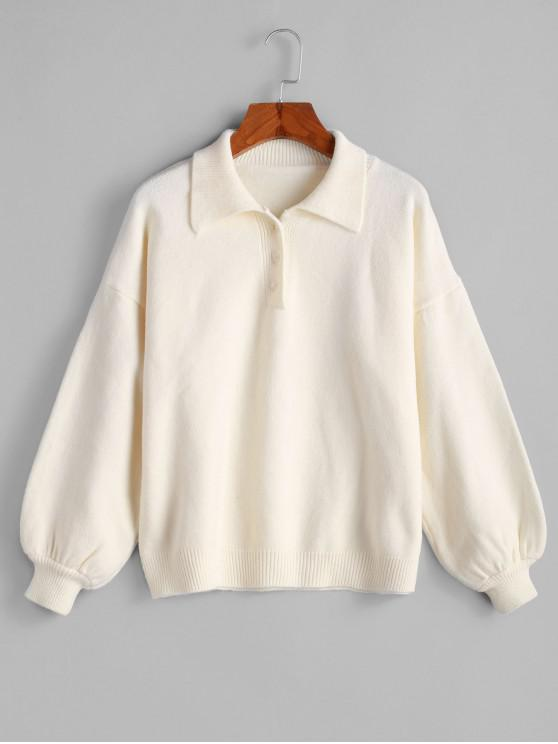 Suéter de medio hombro con botones abotonado - Blanco Cálido Talla única