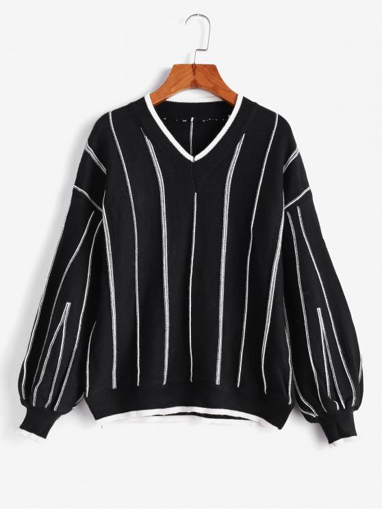fancy Pullover Textured Stripes V Neck Sweater - BLACK ONE SIZE
