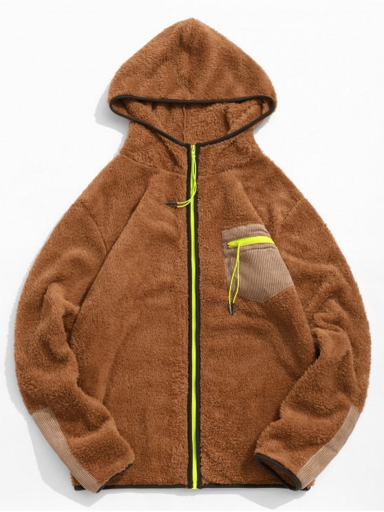 unique Zip Up Pocket Decoration Long-sleeved Jacket - CARAMEL L