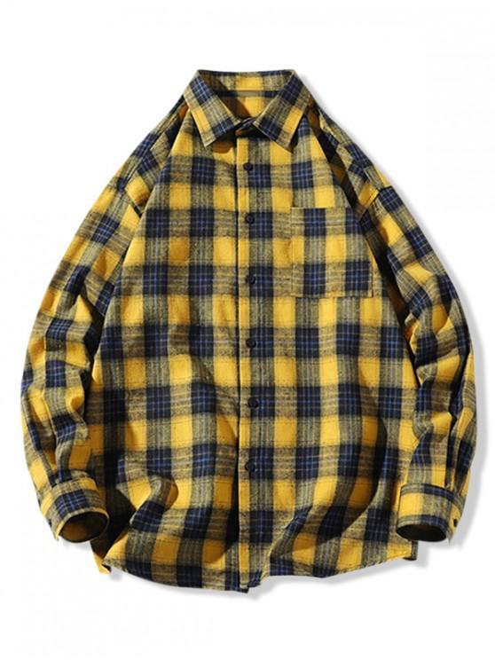 Camisa de dobladillo curvo de manga larga con bolsillo a cuadros en el pecho - Amarillo XL