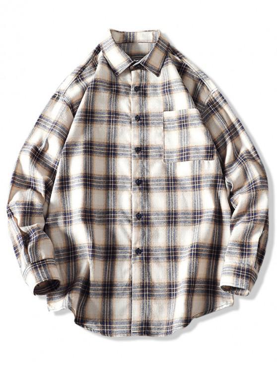 Camisa de dobladillo curvo de manga larga con bolsillo a cuadros en el pecho - Caqui 2XL