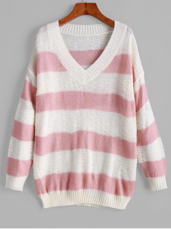 ladies Pullover Color Block Stripes V Neck Sweater - MULTI-B ONE SIZE