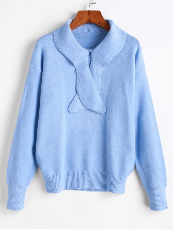 lady Drop Shoulder Pullover Solid Sweater - LIGHT BLUE ONE SIZE