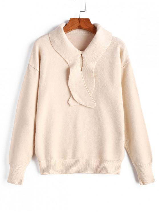 womens Drop Shoulder Pullover Solid Sweater - BEIGE ONE SIZE