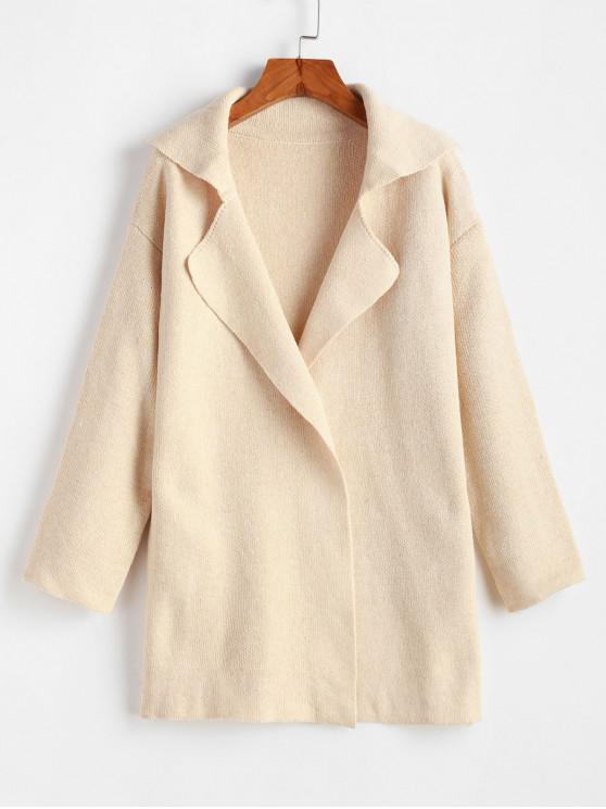 trendy One Buttoned Lapel Seam Pockets Cardigan - BEIGE ONE SIZE