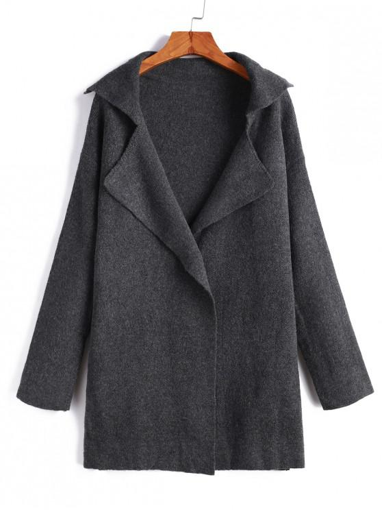 outfits One Buttoned Lapel Seam Pockets Cardigan - GRAY ONE SIZE