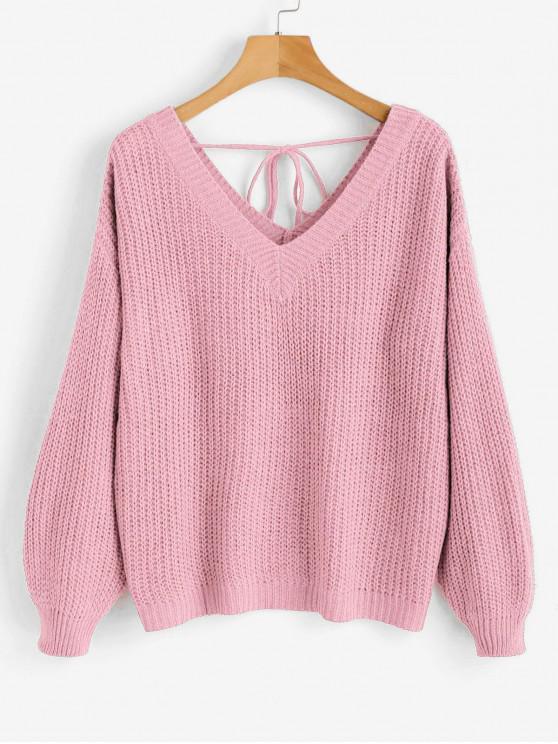 fancy Drop Shoulder V Neck Oversized Sweater - PINK L