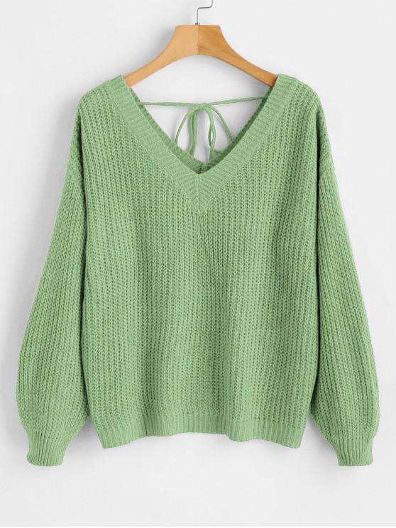 fashion Drop Shoulder V Neck Oversized Sweater - MINT GREEN M