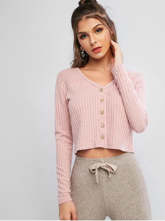 latest Solid Ribbed Button Up Cardigan - ROSE L