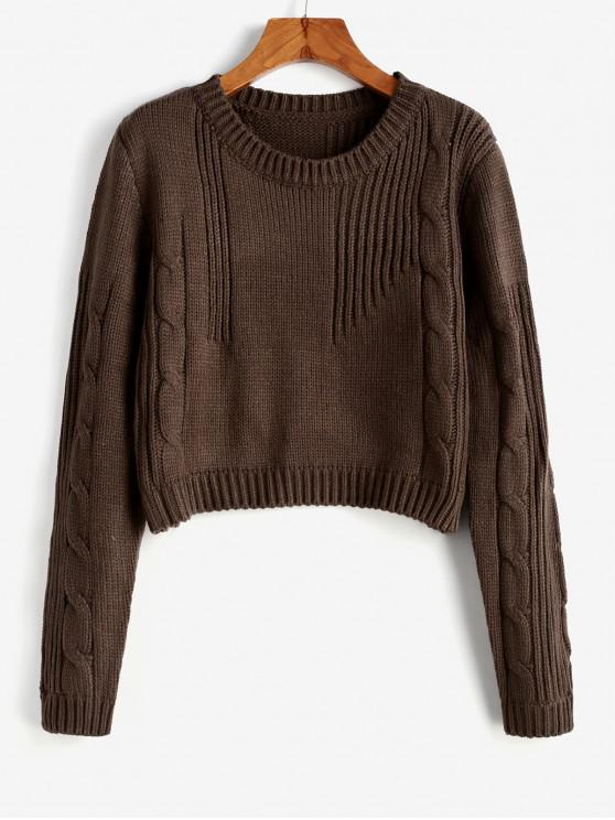 women Cable Knit Cropped Sweater - COFFEE ONE SIZE
