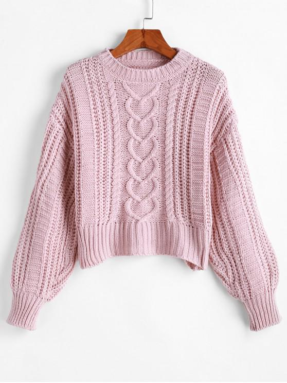 new Solid Pullover Cable Knit Chunky Sweater - PINK ONE SIZE