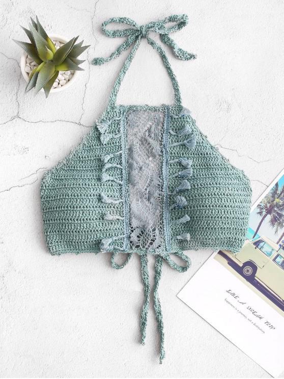 online Halter Tassels Lace Panel Crochet Bikini Top - DARK TURQUOISE L