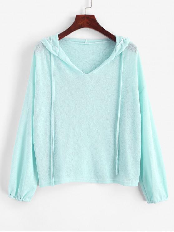 online V Notched Drawstring Drop Shoulder Hoodie - LIGHT CYAN S