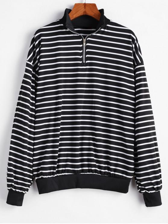 fancy Drop Shoulder Stripes Zip Front Sweatshirt - MULTI-A ONE SIZE