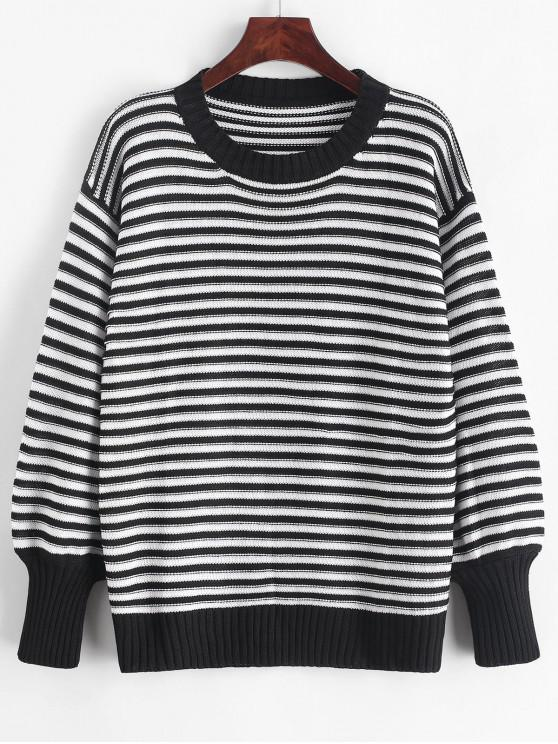 latest Drop Shoulder Textured Stripes Pullover Sweater - MULTI ONE SIZE