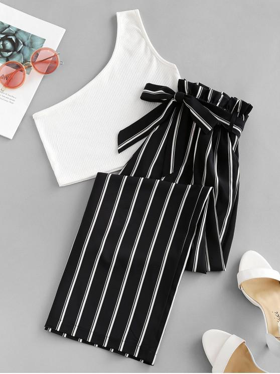 buy ZAFUL One Shoulder Striped Belted Two Pieces Suit - MULTI L