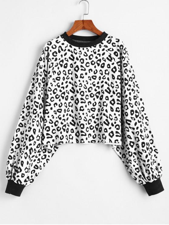 La camiseta de manga raglán leopardo Hem Raw - Blanco Talla única
