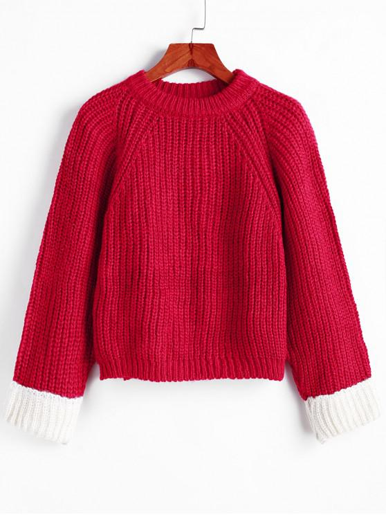 best Raglan Sleeve Back Slit Chunky Pullover Sweater - RED ONE SIZE