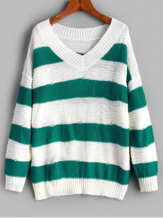 women Pullover Color Block Stripes V Neck Sweater - MULTI-A ONE SIZE