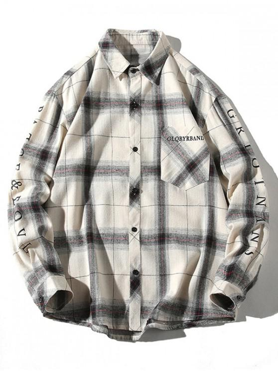 chic Plaid Letter Print Chest Pocket Button Shirt - WHITE L