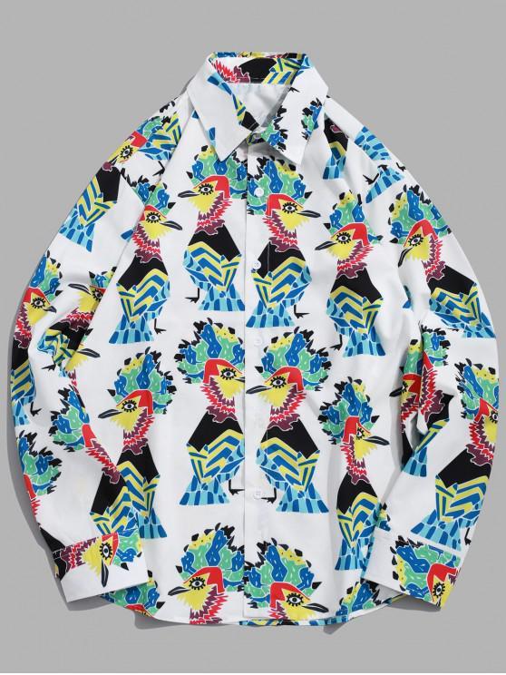 trendy Cartoon Cock Pattern Print Long Sleeve Casual Shirt - WHITE L