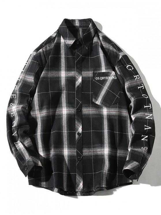 best Plaid Letter Print Chest Pocket Button Shirt - BLACK 4XL