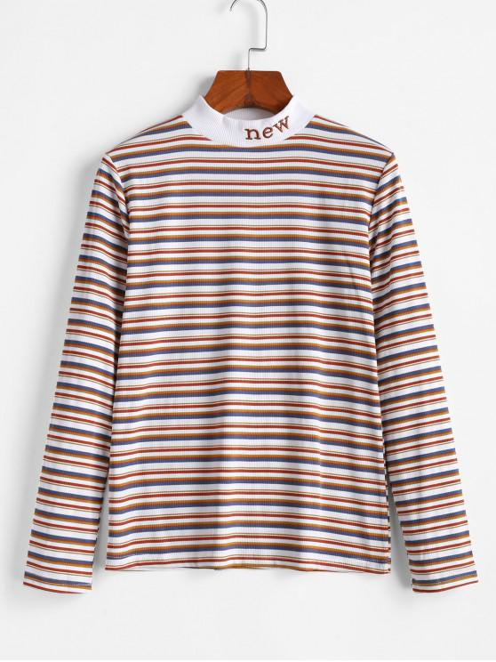 trendy Mock Neck Ribbed Stripes New Embroidered Tee - MULTI-A XL