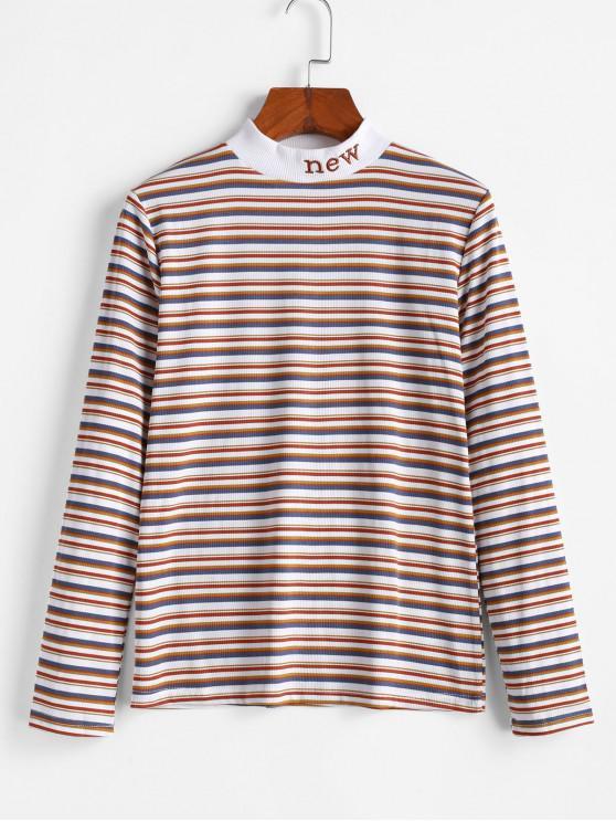 Mock Neck ребристого Stripes Новых Вышитые Tee - Многоцветный-A 2XL