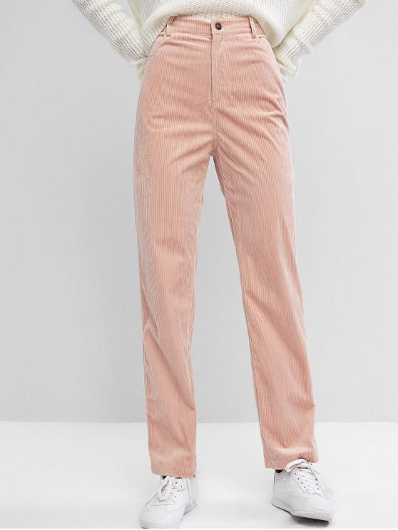fancy ZAFUL High Waisted Corduroy Pants - ROSE M
