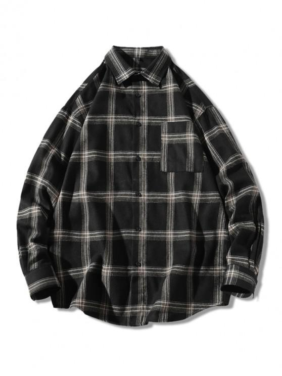 women Plaid Long Sleeve Chest Pocket Button Shirt - BLACK L