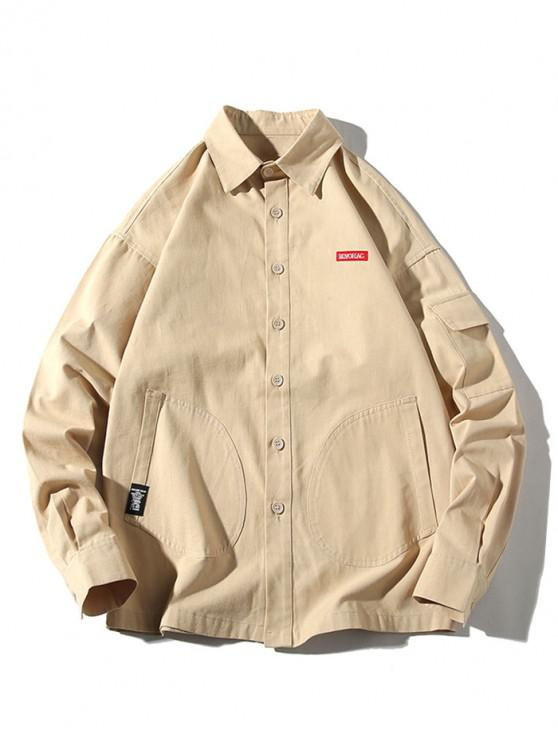 buy Solid Color Multi-pocket Applique Button Long Sleeve Shirt - KHAKI 4XL