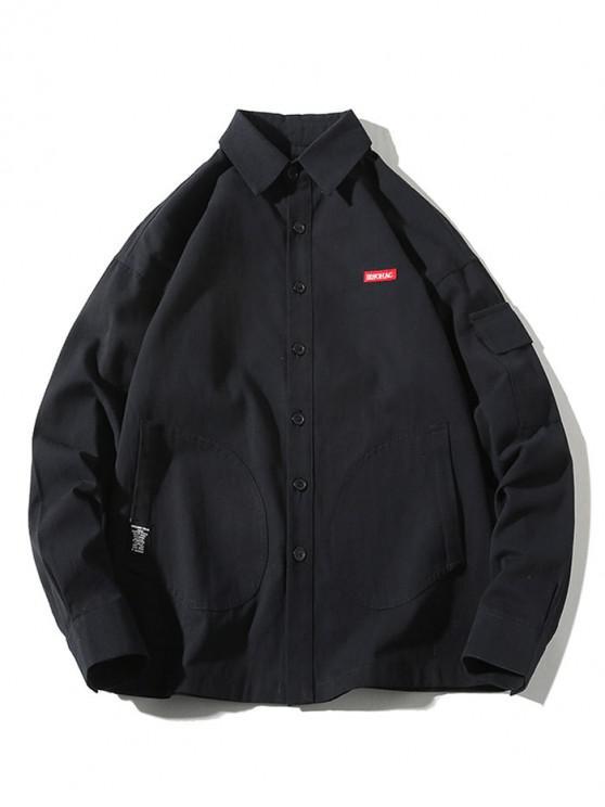 shops Solid Color Multi-pocket Applique Button Long Sleeve Shirt - BLACK M