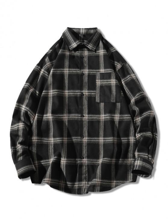 fashion Plaid Long Sleeve Chest Pocket Button Shirt - BLACK M