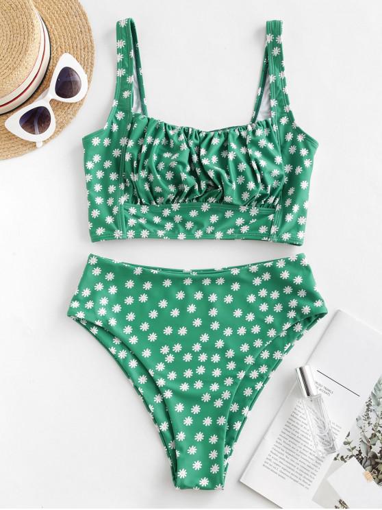 latest ZAFUL Ditsy Print Square Neck High Leg Tankini Swimsuit - MULTI-A 2XL