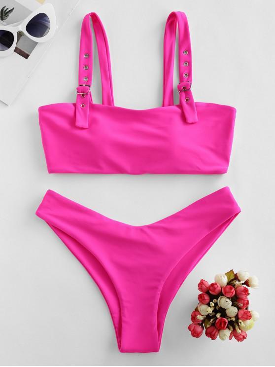 shops ZAFUL Buckle Plain Padded Bikini Swimwear - ROSE RED S