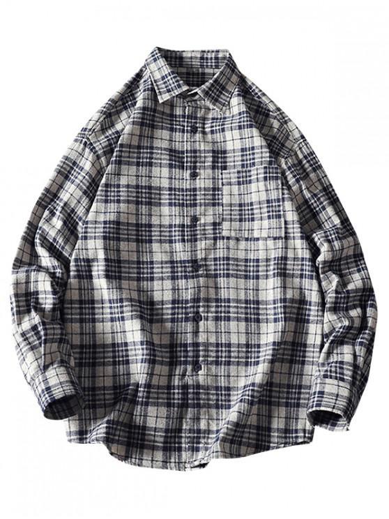 shop Plaid Chest Pocket Curved Hem Casual Shirt - GRAY M