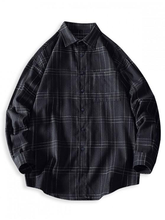 shops Plaid Chest Pocket Curved Hem Button Up Shirt - BLACK 3XL