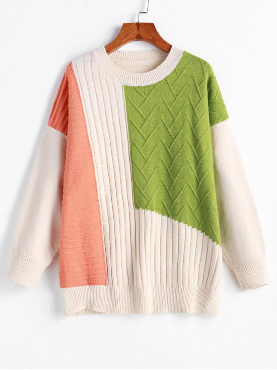 sale Crew Neck Drop Shoulder Color Block Pullover Sweater - MULTI-B ONE SIZE