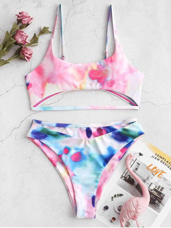 fashion ZAFUL Tie Dye High Cut Cutout Bikini Swimsuit - MULTI-A L