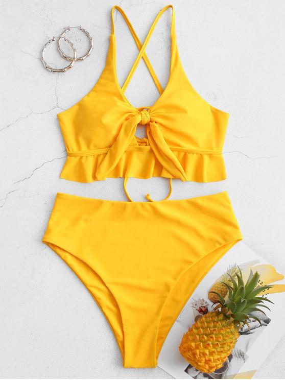 women's ZAFUL Knotted Criss Cross High Cut Flounce Tankini Swimsuit - YELLOW L