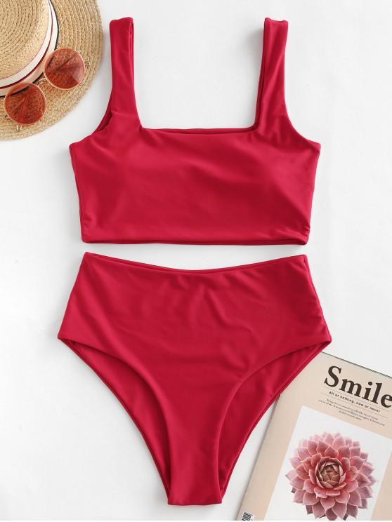 lady ZAFUL High Waisted Square Neck Plain Tankini Swimsuit - LAVA RED L