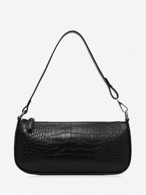 ladies Retro Animal Embossed PU Leather Shoulder Bag - BLACK