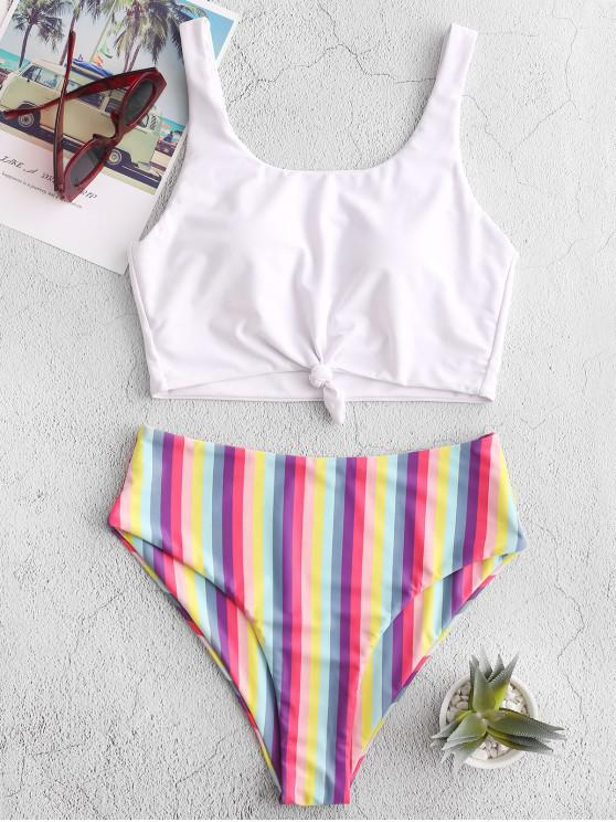 hot ZAFUL Rainbow Striped Knotted High Cut Tankini Swimsuit - WHITE S