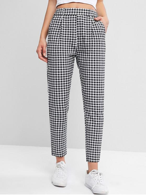 chic Plaid High Waisted Pocket Pencil Pants - MULTI-A S
